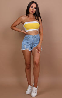 Yellow Patch Contrast Bandeau Top - Sofie