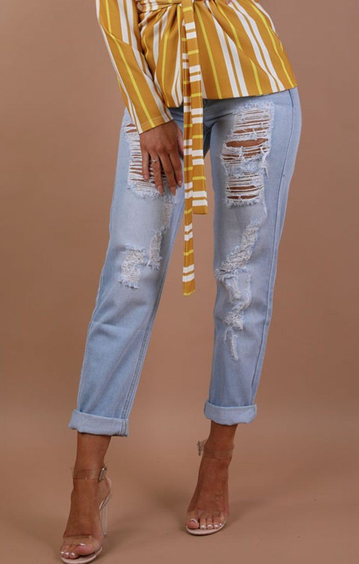 Light Denim Distressed Boyfriend Jeans - Sierra