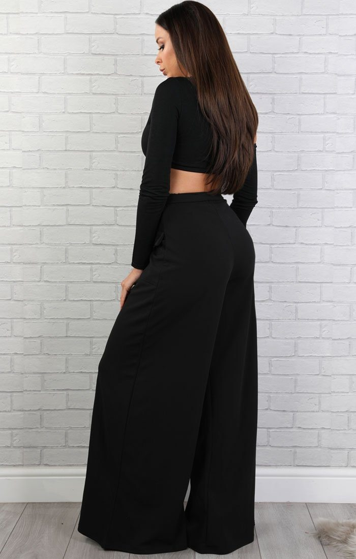 Black Extreme Wide Leg Trousers - Betsy