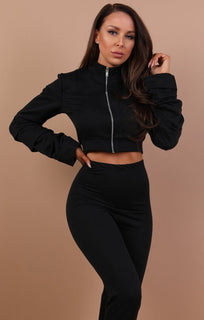 Black-basic-ruched-sleeve-loungewear-set-kirsty