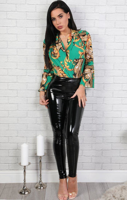 Green Scarf Print Shirt Bodysuit - Monica