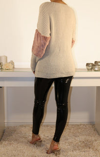 Stone Oversized Faux Fur Panel Knitted Jumper