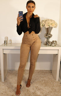 Tan Suede Button Front Leggings