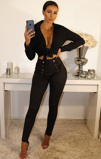 Black Suede Button Front Leggings