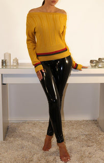 Mustard Bardot Jumper With Stripe Detail