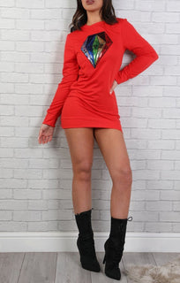 Red Sequin Diamond Jumper Dress - Jasmine