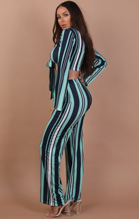 Green and Navy Striped Print Front Tie Two Piece Set