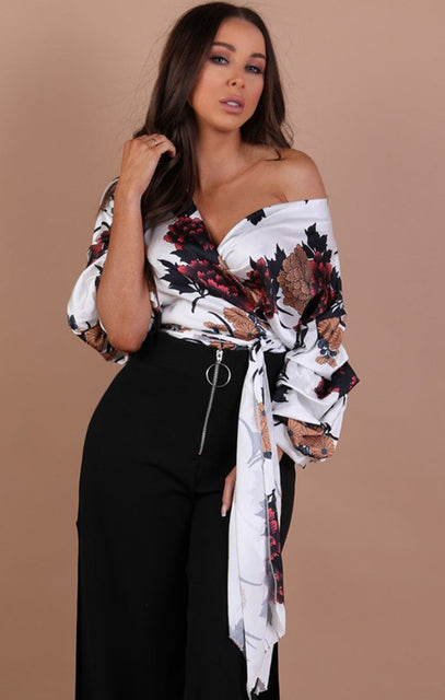 White Floral Satin Ruched Sleeves Wrap Top – Kelly