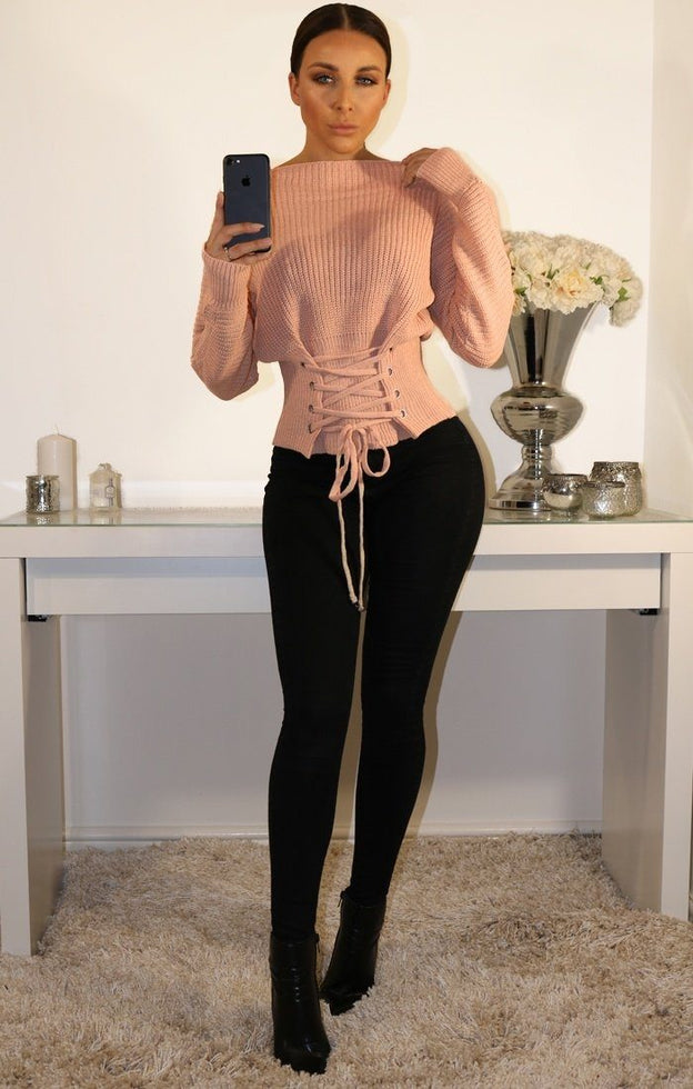 NUDE CORSET FRONT KNITTED JUMPER