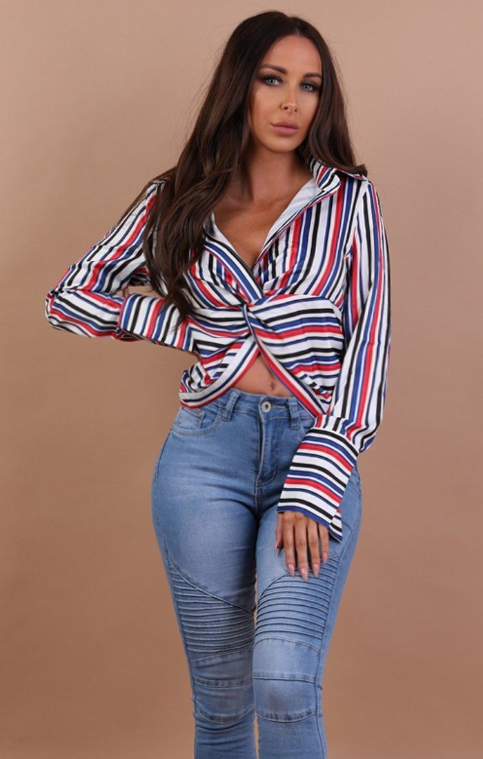 Red Multi Stripe Front Knot Crop Top - Camila