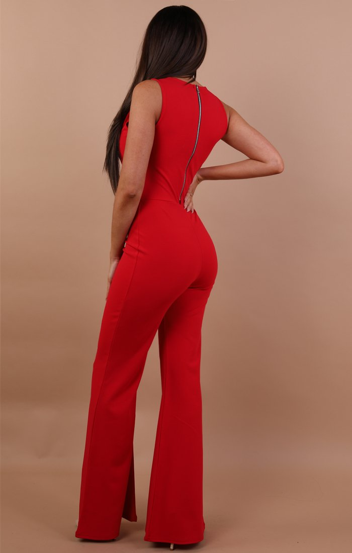 Red Cut Out Wide Leg Jumpsuit - Lynn