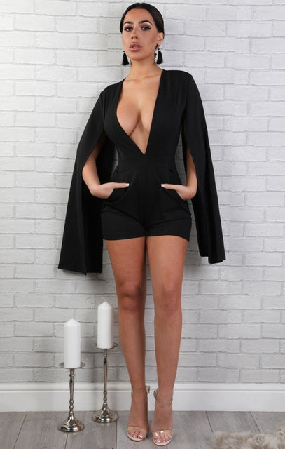 Black Open Sleeve Playsuit - Bronte
