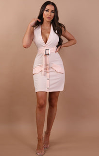 Nude Sleeveless Belted Blazer Dress - Kinsley