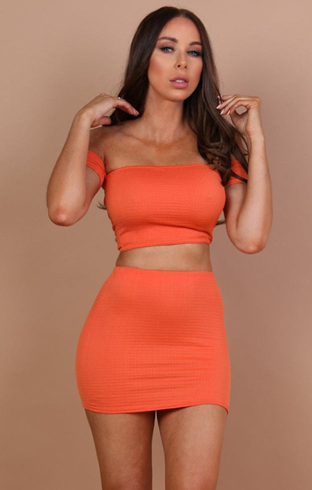 Orange-Ruched-Bardot-Crop-Top