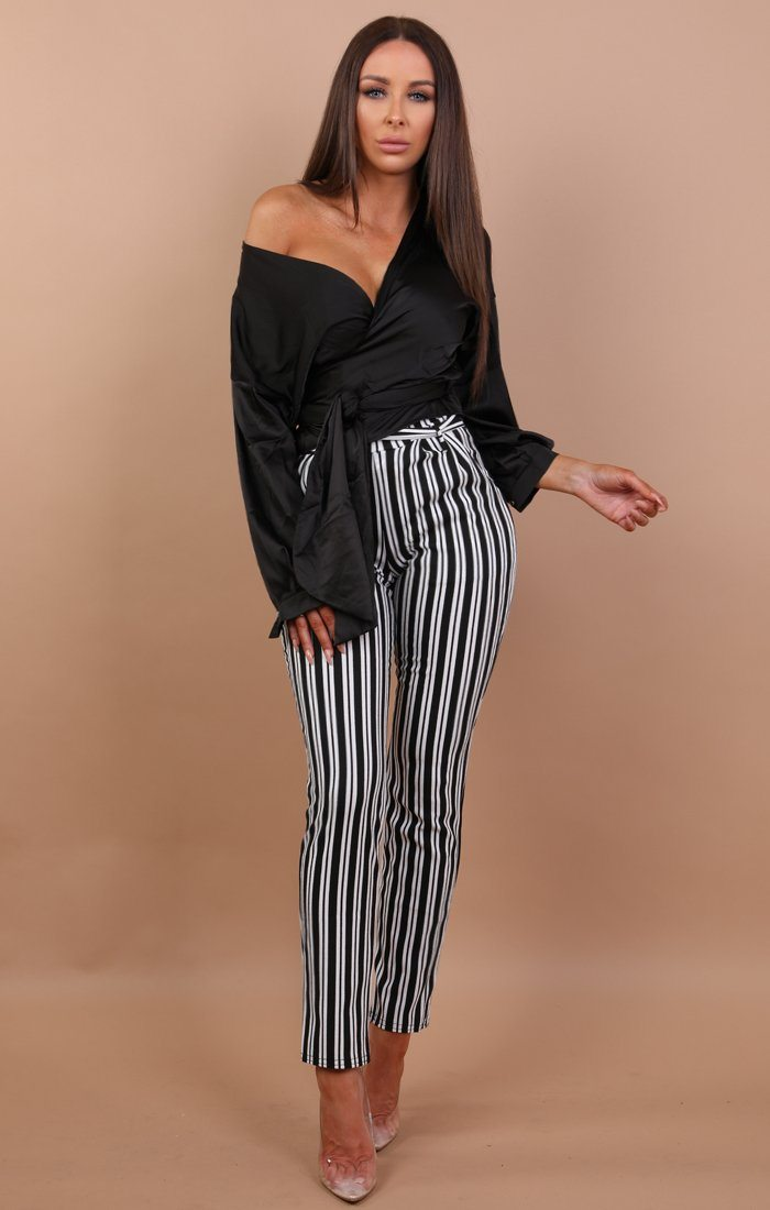 Black Satin Wrap Front Shirt- Lillian