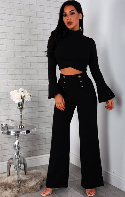 Black Button Detail Two Piece Co-ord Set