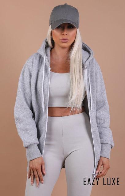 Grey Basic Zip Up Hoodie – Emmy