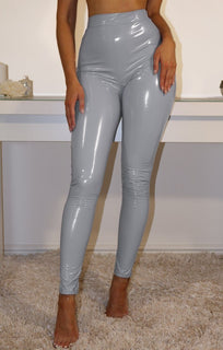 Light Blue High Shine Vinyl Pu Trousers