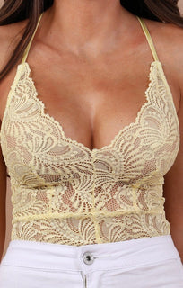 Yellow Floral Sheer Lace Bodysuit - Alma bodysuits Femme Luxe