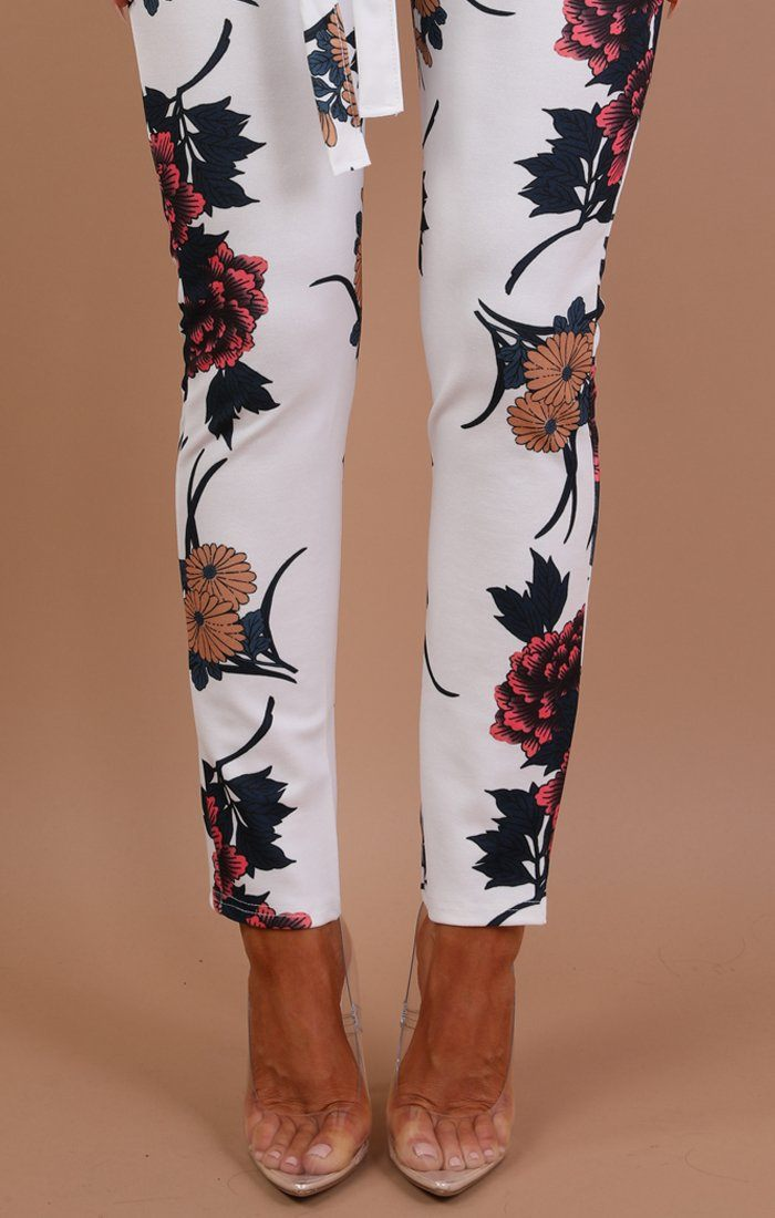 White Floral Belted Trousers - Amiee