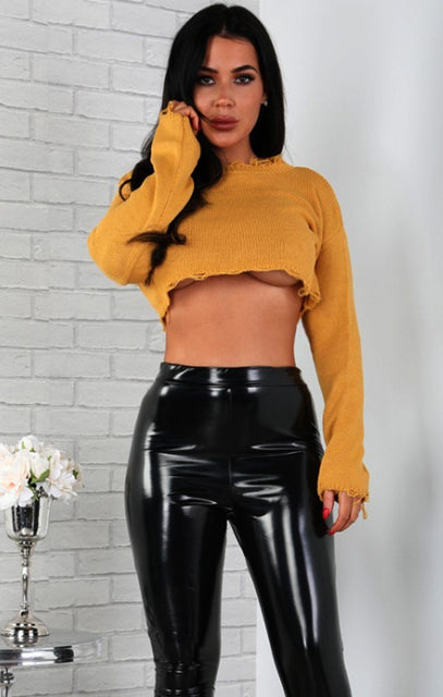 Mustard Distressed Cropped Jumper