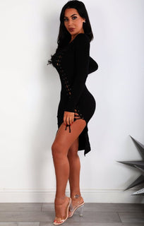 Black-Split-Leg-Lace-Up-Bodycon-Dress