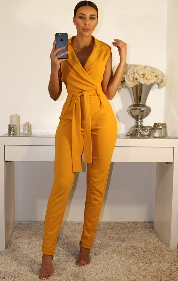 Mustard Sleeveless Front Wrap Jumpsuit