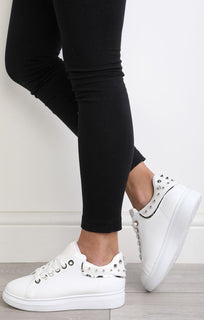 White Studded Back Trainers – Livvy