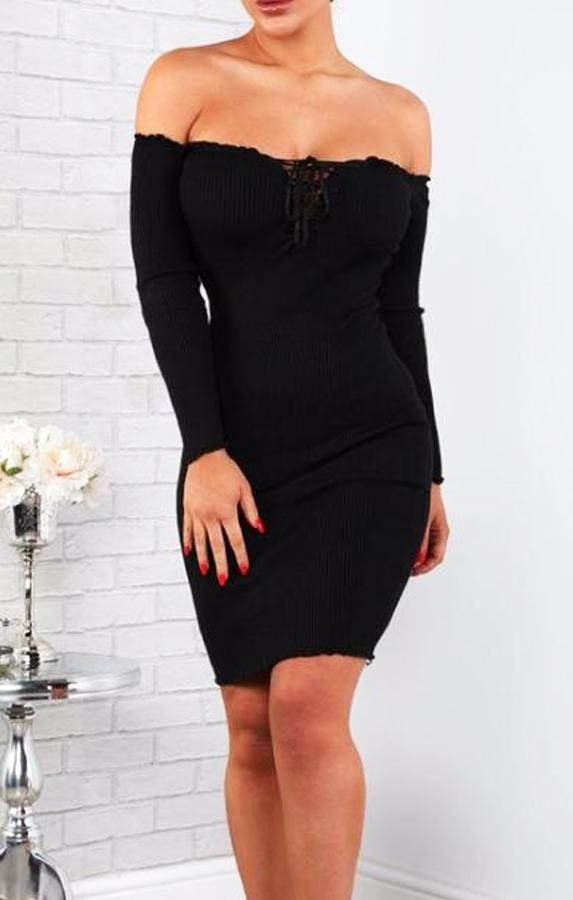 Black Bardot Lace Up Front Bodycon Dress