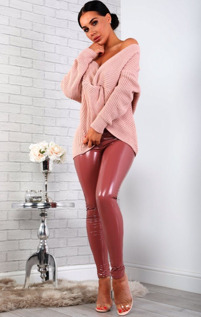 Rose High Shine Vinyl Pu Trousers