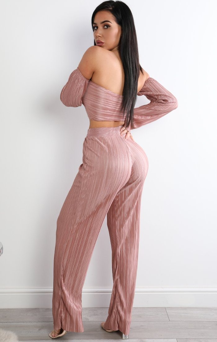Rose Pleated Two Piece Co-ord Set