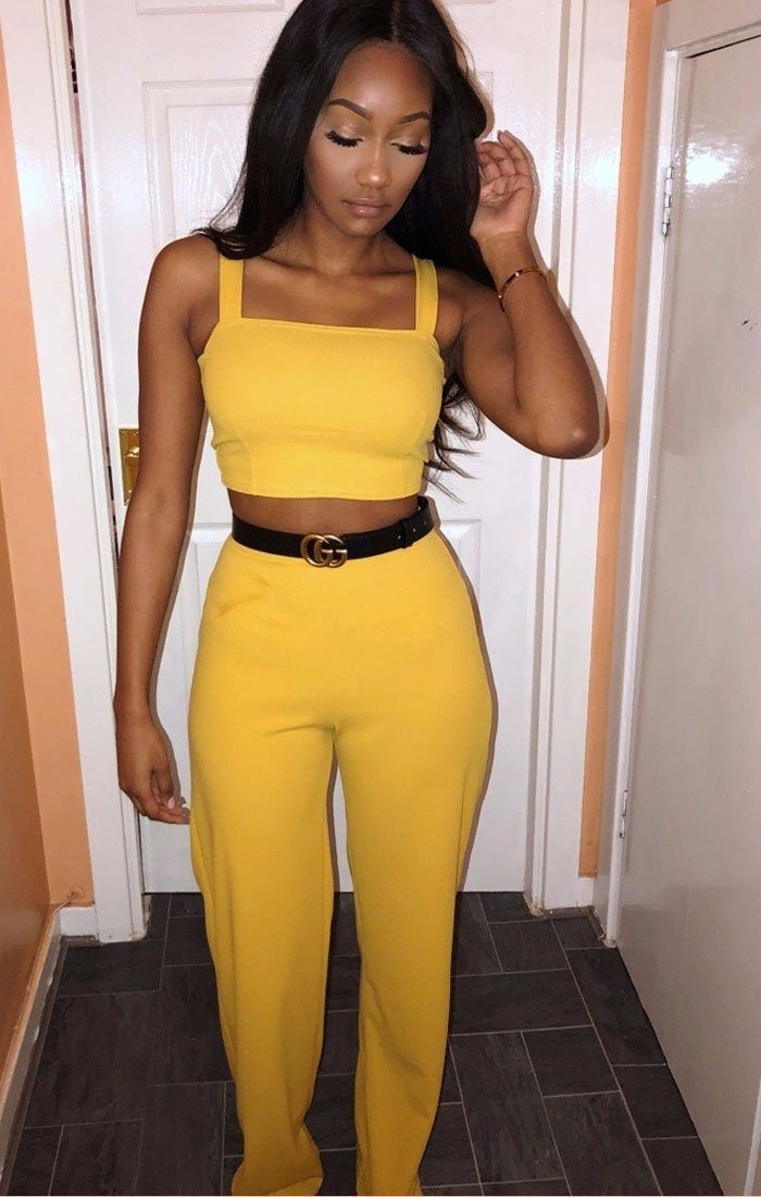 Mustard Crop Top And Trousers Co-ord Set trousers Femme Luxe 6