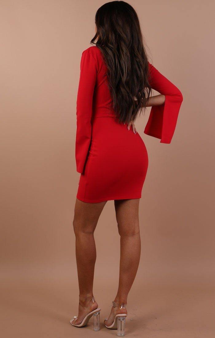 Red Plunge Front Tie Bodycon Dress – Emilie