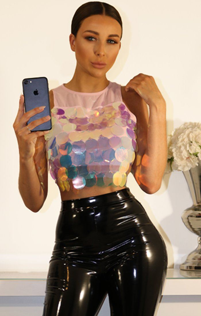 PINK SEQUIN CROPPED TANK TOP