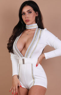 White Metallic Stripe Plunge Choker Neckline Playsuit - Heidi