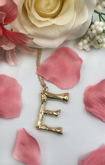 Gold Bamboo E Initial Necklace - Vita