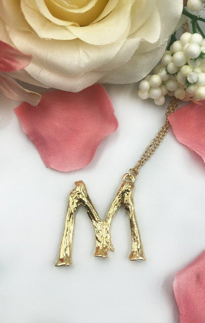 Gold Bamboo M Initial Necklace - Vita