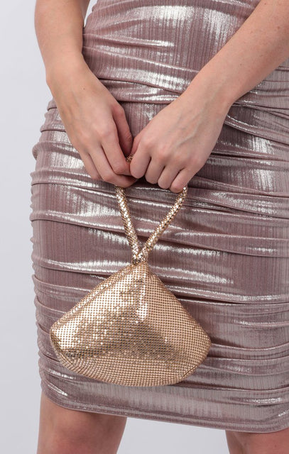 Gold Bead Mini Wrist Bag - Khloe