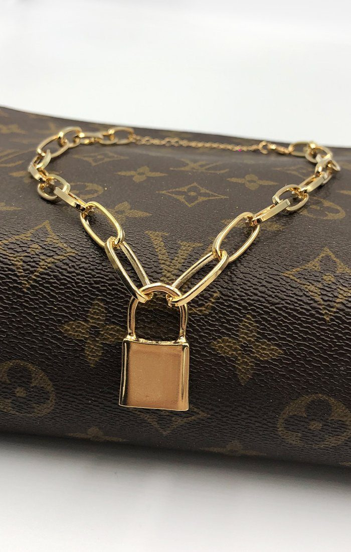 Gold Chunky Padlock Necklace - Liana