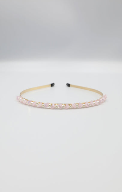 Gold Crystal & Pearl Thin Metal Headband - Quinn