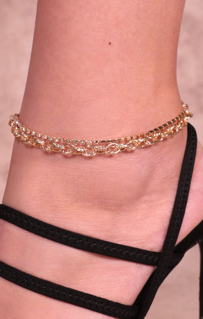 Gold Diamante Chain Link Anklet - Valerie