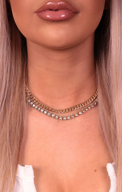 Gold Diamante Chain Link Twin Pack Choker - Gaynor