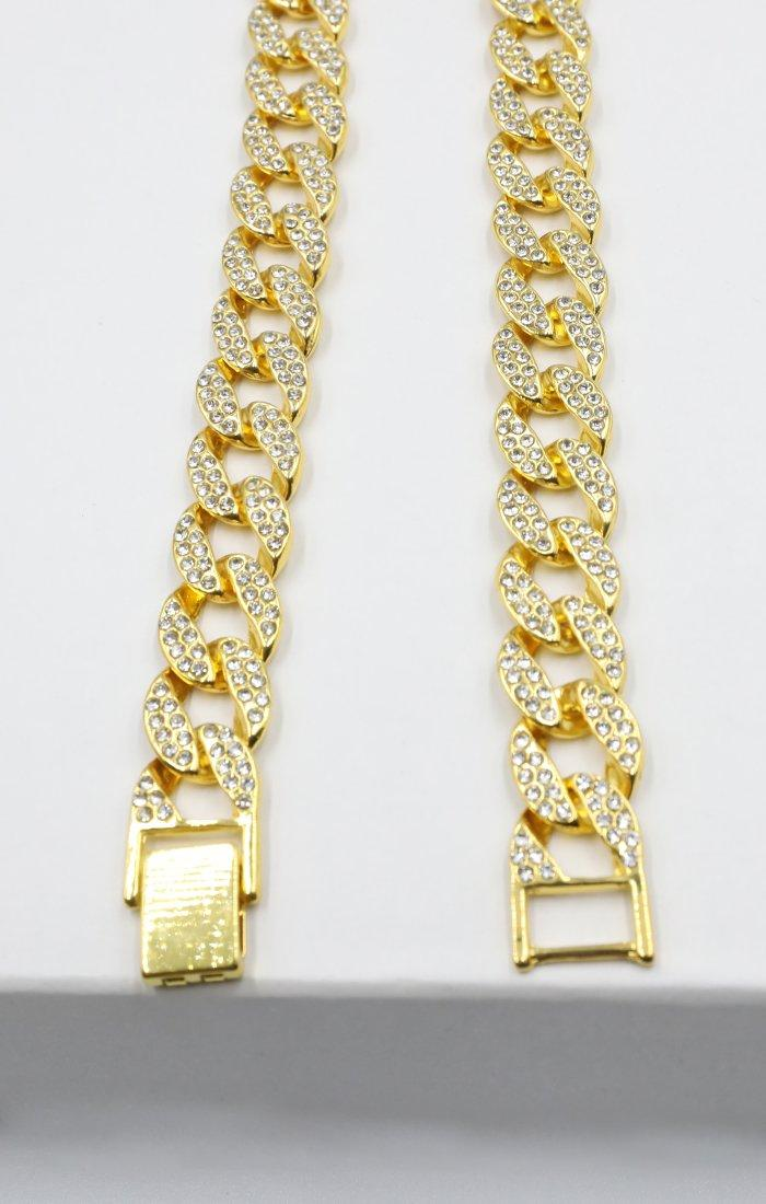 Gold Diamante Chunky Chain Link Necklace - Trish
