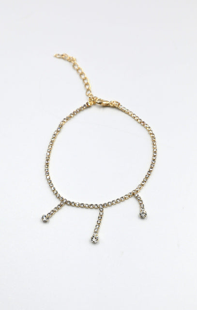 Gold Diamante Drop Anklet - Tatum