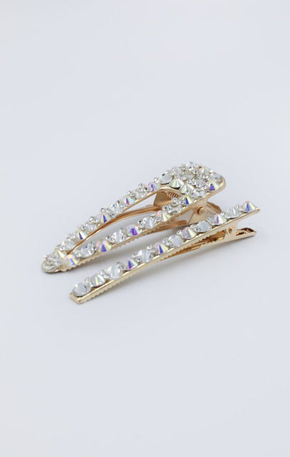 Gold Diamante Hair Clip Two Pack - Alexis