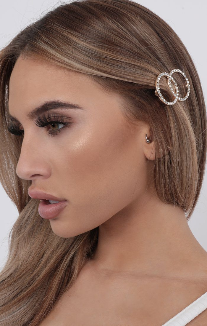 Gold Double Circle Diamante Hair Clip - Nia