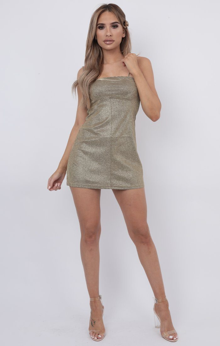 Gold Glitter Sparkly Shift Mini Dress - Lexia