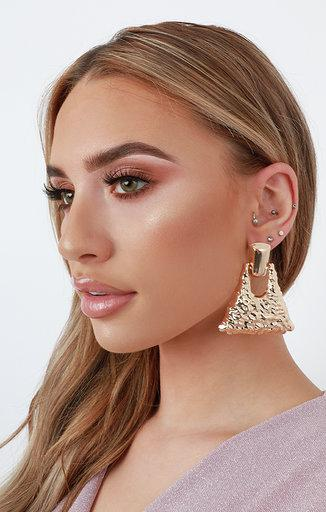 Gold Hammered Chunky Drop Earrings - Sally
