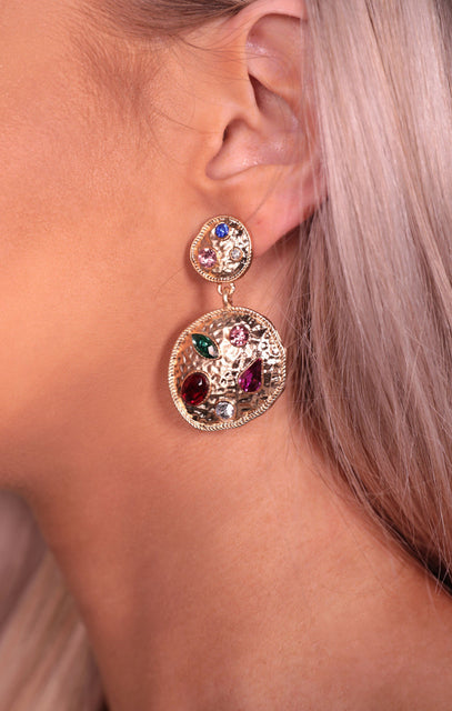 Gold Hammered Multicoloured Gem Stone Earrings - Uma