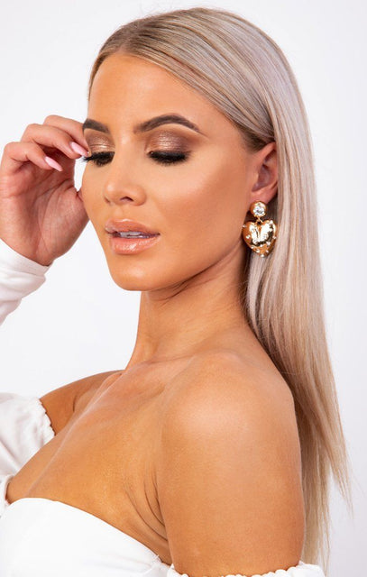 Gold Heart Drop Silver Diamante Earrings - Keegan